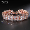 ZAKOL Sparkling Rose Gold Plated Bracelet/Bangle Luxury Oval Cubic Zircon Jewelry For Women/Ladies Accessories FSBP042