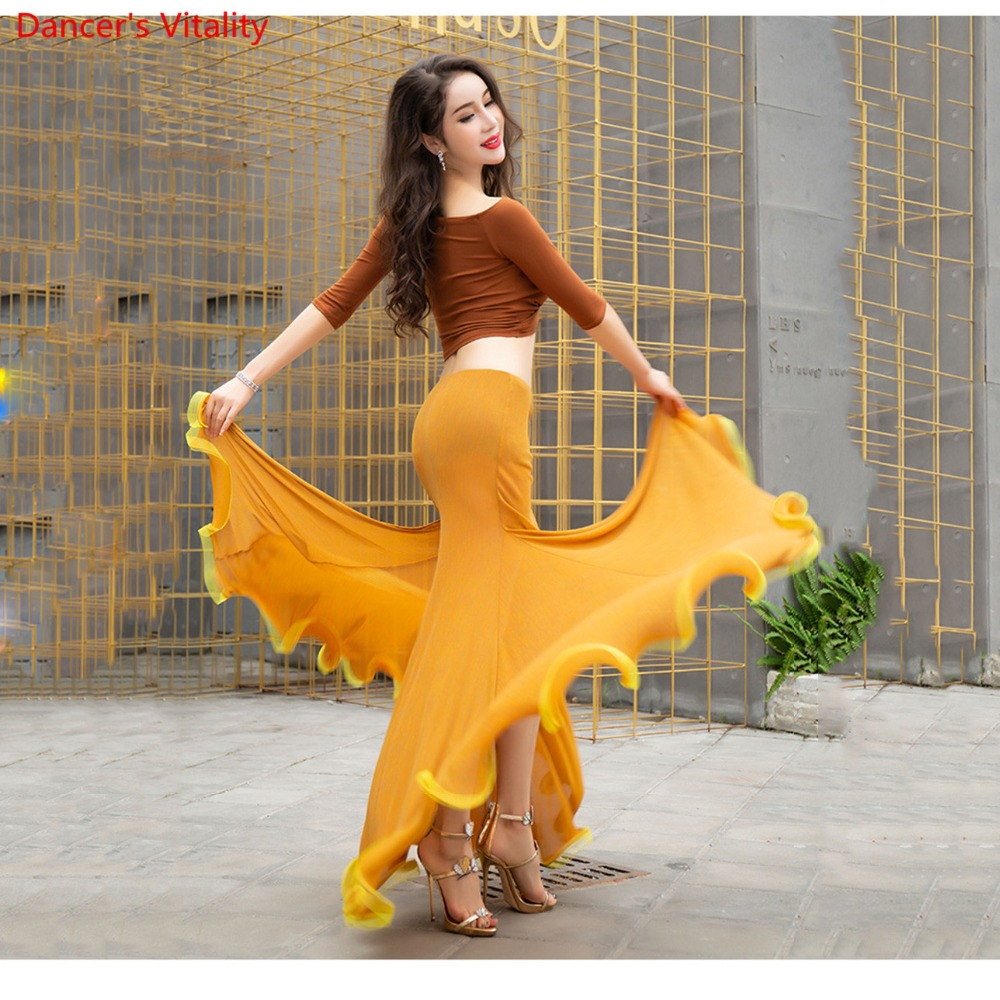 New Fashion 3 Piece Women Long Sleeve Oriental Dance Dress Belly Dance Competition Costume Coffee