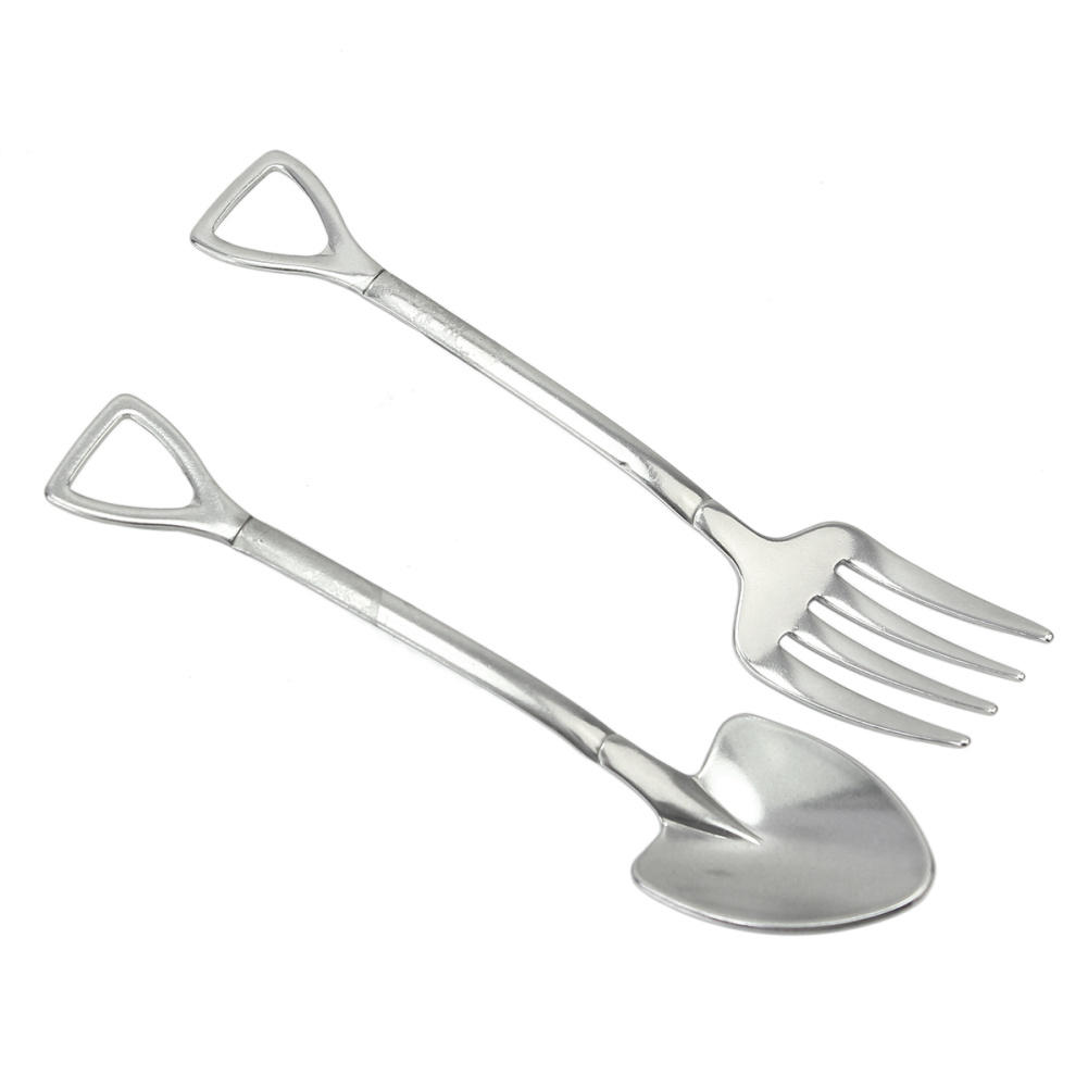 2pcs/Set Silver Stainless Steel Shovel Shape Fork Outdoor Camping Picnic  Dining Tableware Accessory Kitchen Tools