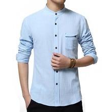 Neue 2016 Casual Chinse Kongfu Männer Langarm-shirt Solide farbe Slim Fit Leinenhemd Männer Trend Männer Designer Kragen Shirts