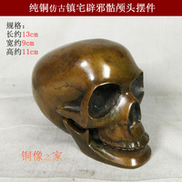 TOP COOL art # PUNK # Metal death ROCK BAR CLUB decorative exorcise evil spirits Skull Heads FENG SHUI sculpture brass statue