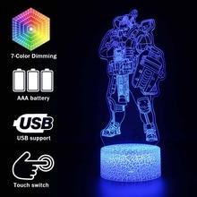 ألعاب مضيئة ثلاثية الأبعاد الوهم Led مصباح قمة أساطير عمل الشكل ليلة ضوء حامي للأطفال الحاضر قمة اللعب للاعبين