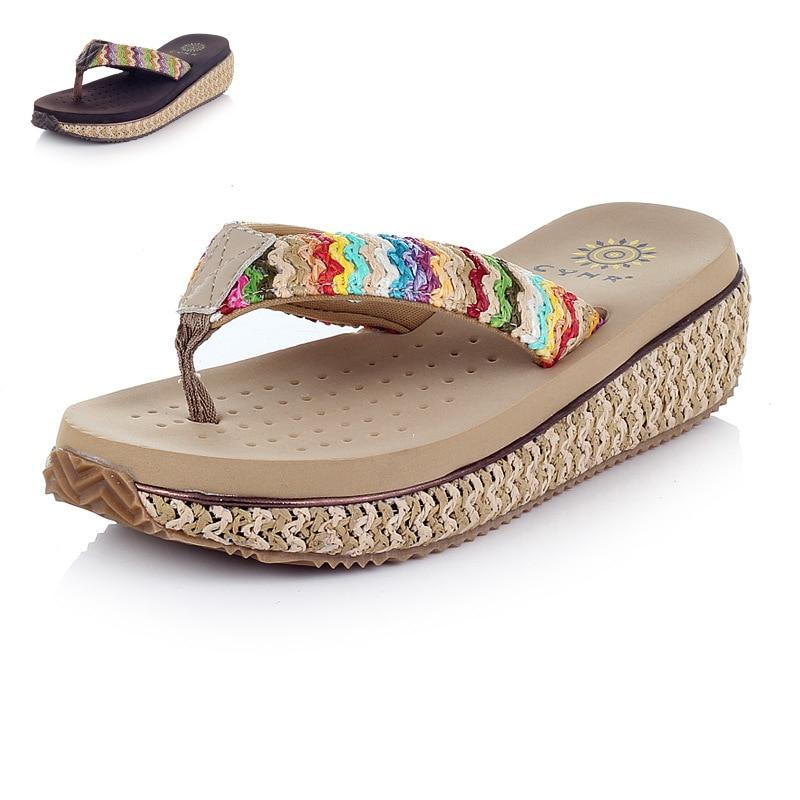 Bohemian Cane Sandals Summer Wedged Platform 2015 New Brand Gladiator font b Women b font Shoes