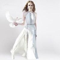 HANZANGL Sexy Hollow Out White Chiffon Lace Dress Women Sleeveless Elegant Fashion Runway Dresses Long Dress