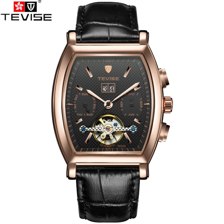 ФОТО Original Tevise Erkek Kol Saati Horloge Men's Day/Week/Month Tourbillion Auto Mechanical Watches Wristwatch Gift Box Free Ship