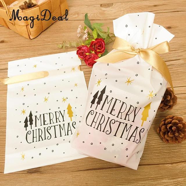 50/set Feliz Natal Sacos de Doces De Presente De Plástico Branco com Fita Cordão