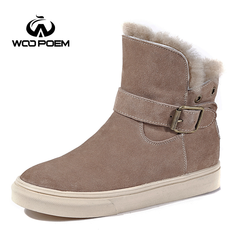 WooPoem Winter Shoes Woman Flat Snow Boots Frosted Cow Leather Shoes Low Heel Ankle Boots Short Plush Wool Women Boots 9918 woopoem brand winter shoes woman genuine leather boots low flat heel ankle boots rivet motorcycle boots retro women boots 510 l1