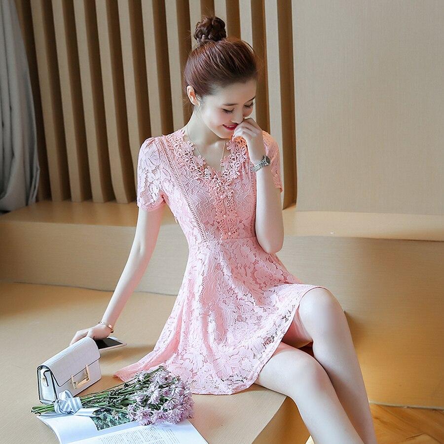 2019 Korean Vintage White Lace Boho Sundress Summer Plus Size Solid Beach Mini  Dresses Elegant Women Party Short Sleeve Vestido