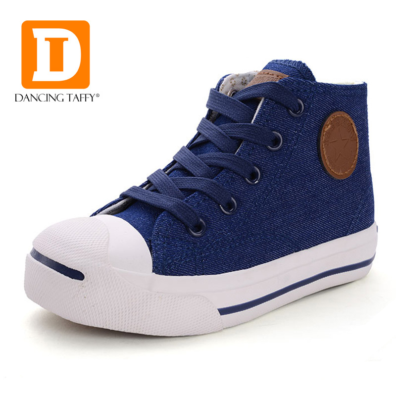 2017 Casual Denim Jeans Children Shoes Solid Canvas Rubber Kids Shoes Lace Up Zip Cow Muscle Bule Red High Boys Girls Sneakers