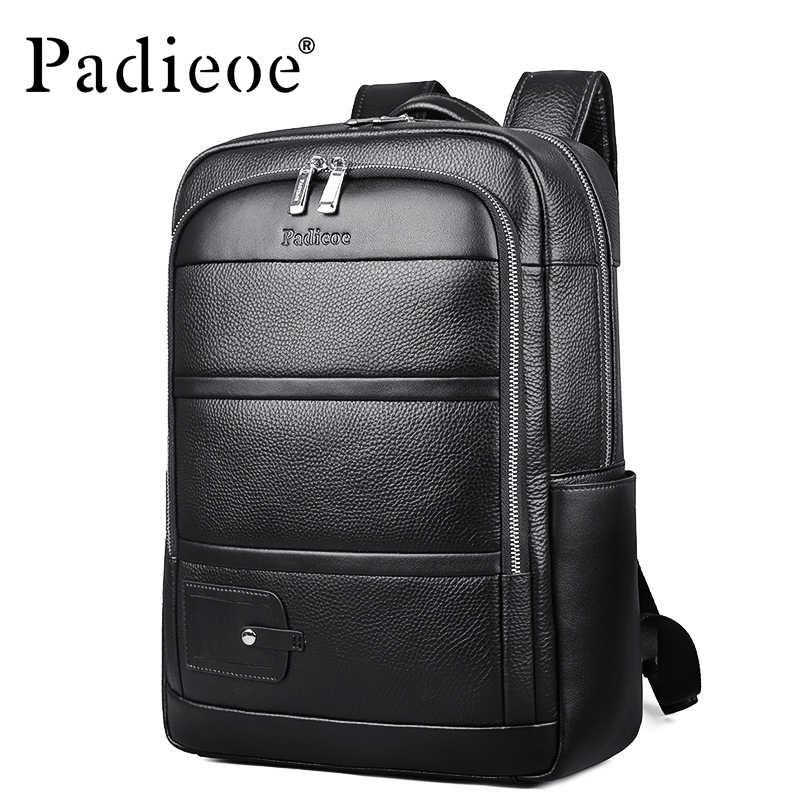 Padieoe роскошный бренд из натуральной коровьей кожи унисекс Рюкзаки Высокое качество сплошной цвет сумка для ноутбука большая емкость Мужская Дорожная сумка