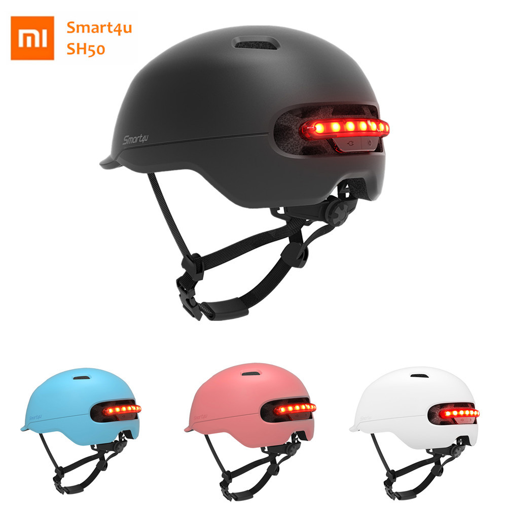 Xiaomi Smart4u SH50 Bicycle Smart Flash Helmets Cycling Helmet for Bike Scooter with Intelligent Back LED Light Brake Warning