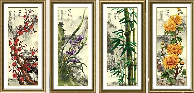 kerek diy gyémánt festés 5d kristály hímzés strasszos kézimunka ház dekoráció virág szilva orchidea bambusz krizantém