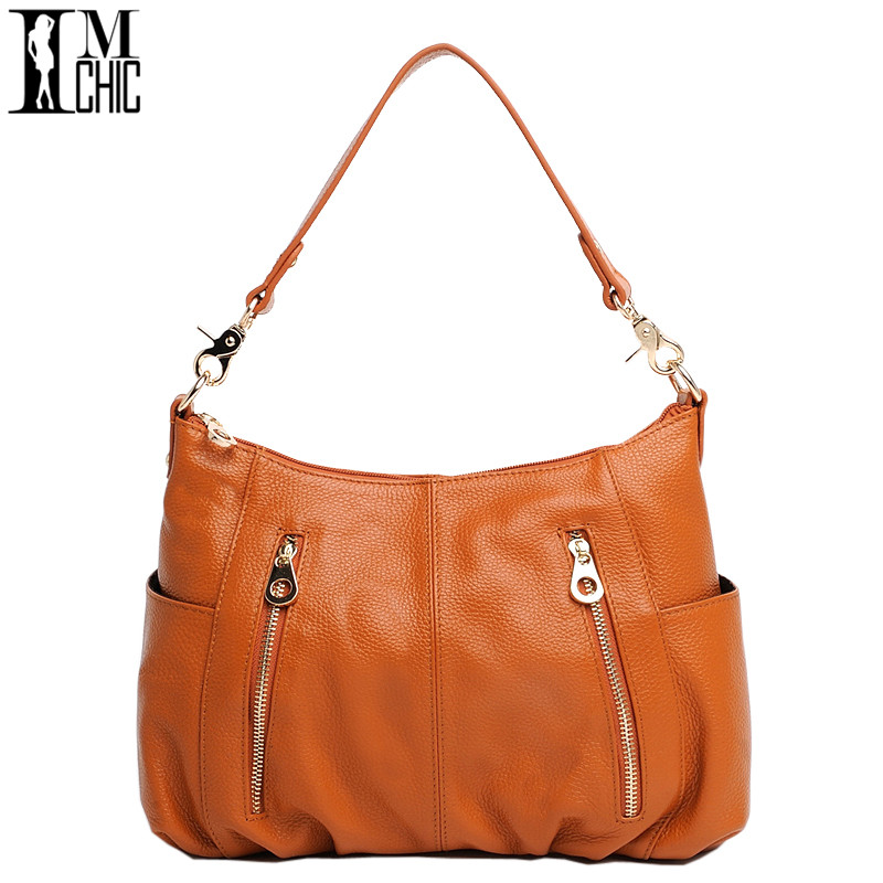 IMCHIC 2017 Women Shoulder Bags Genuine Leather Cowhide Solid Pattern Hobo Woman Casual Bag Classic Ladies Handbags Bolsos 0104