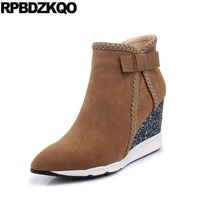 Sheepskin Brand Women Winter Boots Genuine Leather Suede Fall Shoes Bow Sequin Glitter Cute Wedge Brown