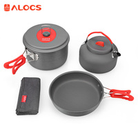 ALOCS CW C19T Outdoor Cookware Set 2 3 People Ultralight Cooking Kit Pot Pan Kettle Dishcloth for Camping Hiking
