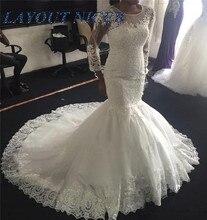 Sparkly Vintage African Mermaid Wedding Dresses 2020 Trumpet Long Sleeves robe de mariee Nigeria Plus Size Arabic Bridal Gowns