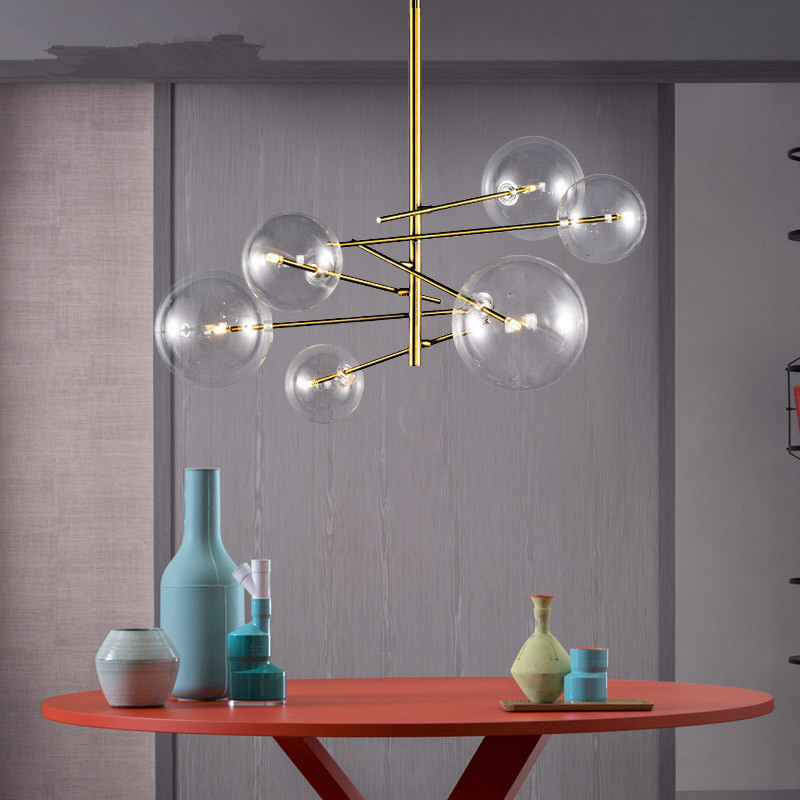 Moderno e minimalista Rotante Luci di Soffitto del Led Lampada Rotonda Sfera di Vetro Creativo Appendere le luci di ferro Ha Condotto La G4 lampadina Interna Bar A Casa oro
