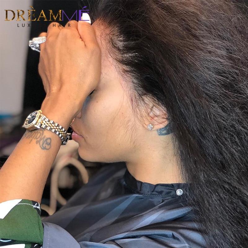 150% densité 360 dentelle perruque frontale perruque de cheveux - Cheveux humains (noir) - Photo 5