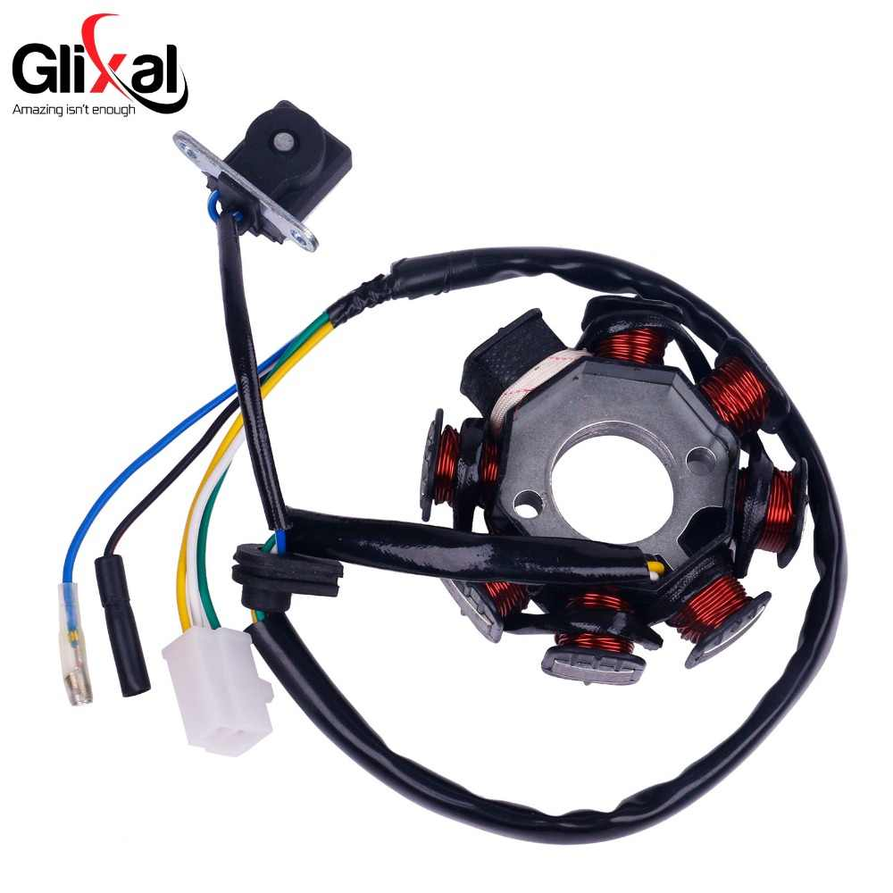 Glixal GY6 8-Coil Magneto Alternator Stator untuk 139QMB 139QMA Cina Scooter Moped ATV Mesin (AC Dipecat)
