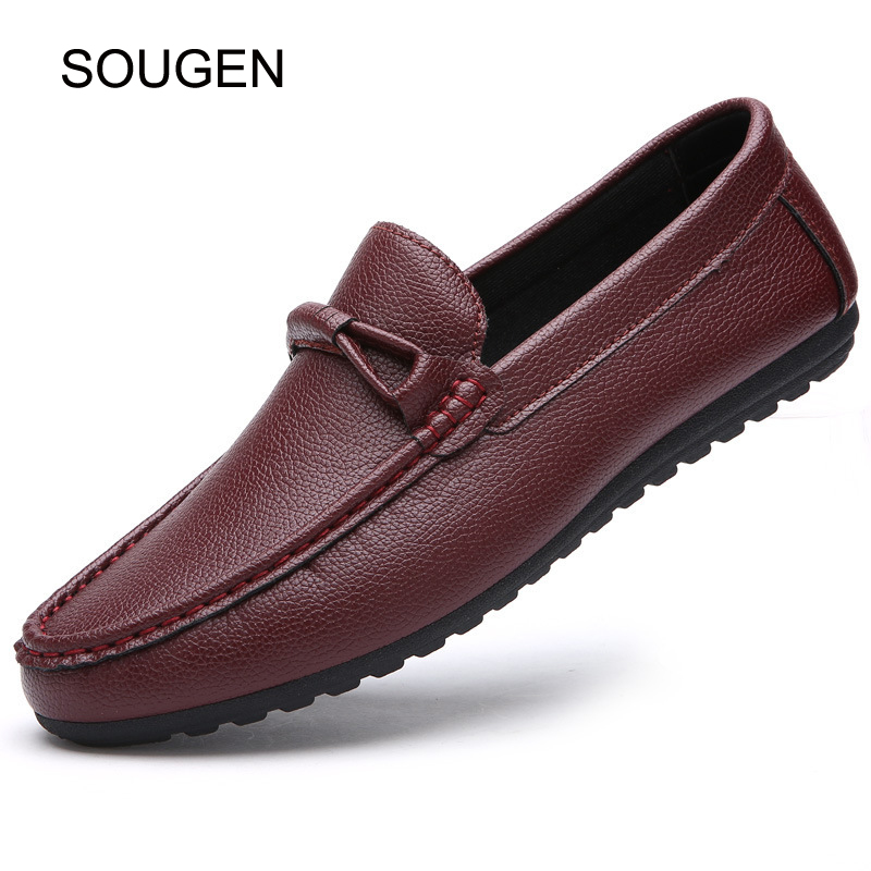 SOUGEN Fashion Leather Flats Shoes Men Slip-On Men Loafers Leather Comfortable Men Driving Shoes Mocassin Homme Size 39-44 desai brand italian style full grain leather crocodile design men loafers comfortable slip on moccasin driving shoes size 38 43