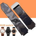 AOTU HUBBAND 25x18mm(Buckle22mm)Watch Bands for Big/Bang Sport Strap Camouflage Colorful Genuine Leather Fold Clasp for HUB+Tool