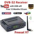 DVB-S2 Receptor Decodificador de satélite Freesat V7 + WIFI USB com cccams clines para 1 ano HD 1080 p Chave BISS Powervu receptor de satélite