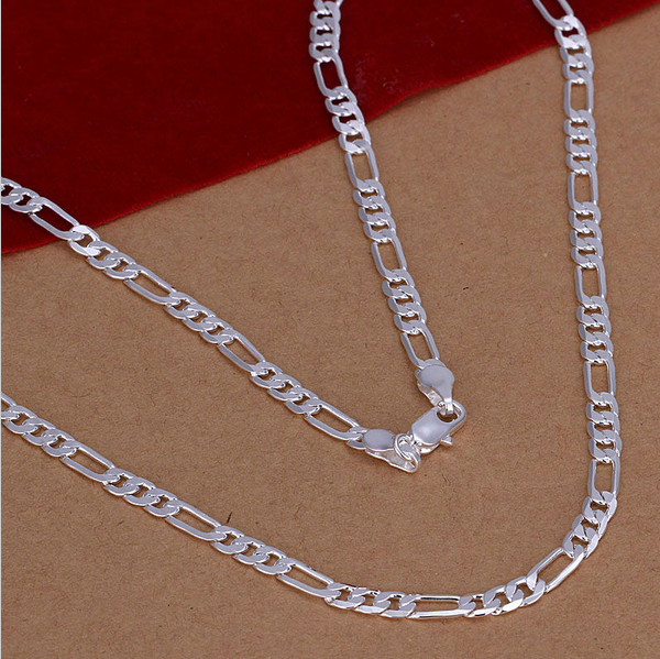 4MM 925 Sterling Silver Plated 16-30inch Chain Fashion Men Flat Necklace Nice