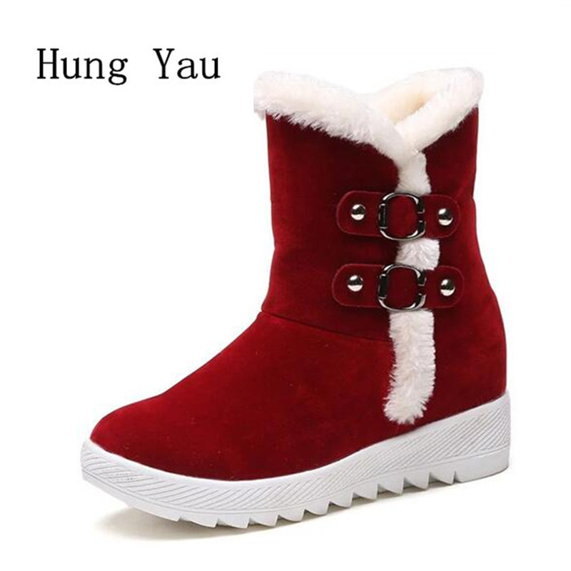 Women Snow Boots Ankle 2017 Winter Warm Female Casual Shoes Platform Woman Fur Round Toe Boots Flat Fashion Comfortable 2016 rhinestone sheepskin women snow boots with fur flat platform ankle winter boots ladies australia boots bottine femme botas