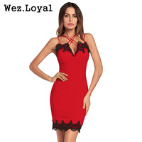 Wez Loyal Cross Halter Embroidery Sexy Red Dress 2018 Club Party Women Dresses Black Lace Sleeveless