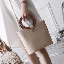 Summer Circle Wooden Handle Knitted Handbag Straw Bamboo Bags for Women Retro Tote Bag Crossbody Bag Beach Bag