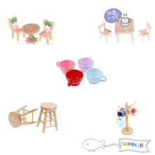 1/12 Scale Dollhouse Miniature Dining Chair Table Furniture Set For Doll House Kitchen Food Furniture Toys Sets(China)