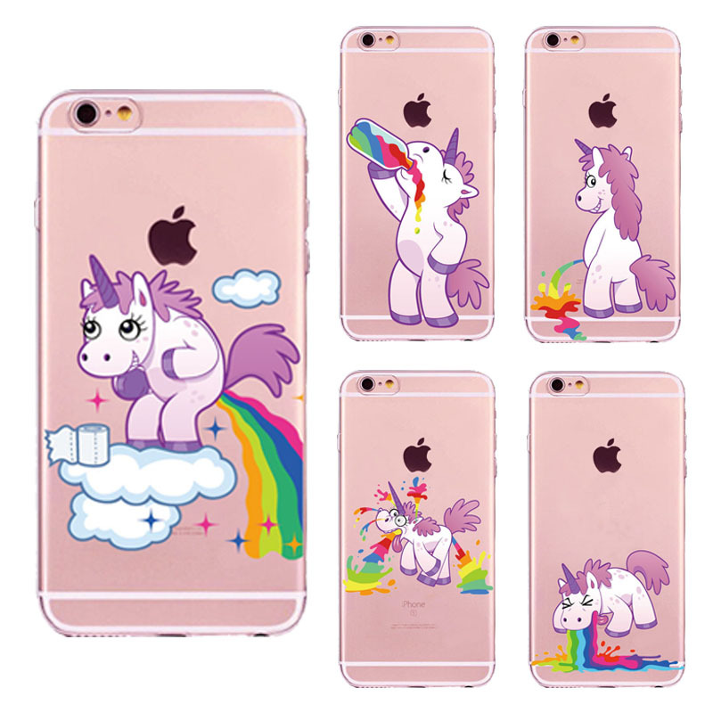 Cute unicorn rainbow phone cases for Funda iPhone 6 6S 7 8 Plus X Cartoon animal Unicorn Soft TPU Cover Case