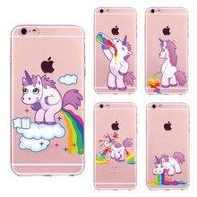 Cute unicorn rainbow phone cases for Funda iPhone 6 6S 7 8 Plus X Cartoon animal Unicorn Soft TPU Cover Case
