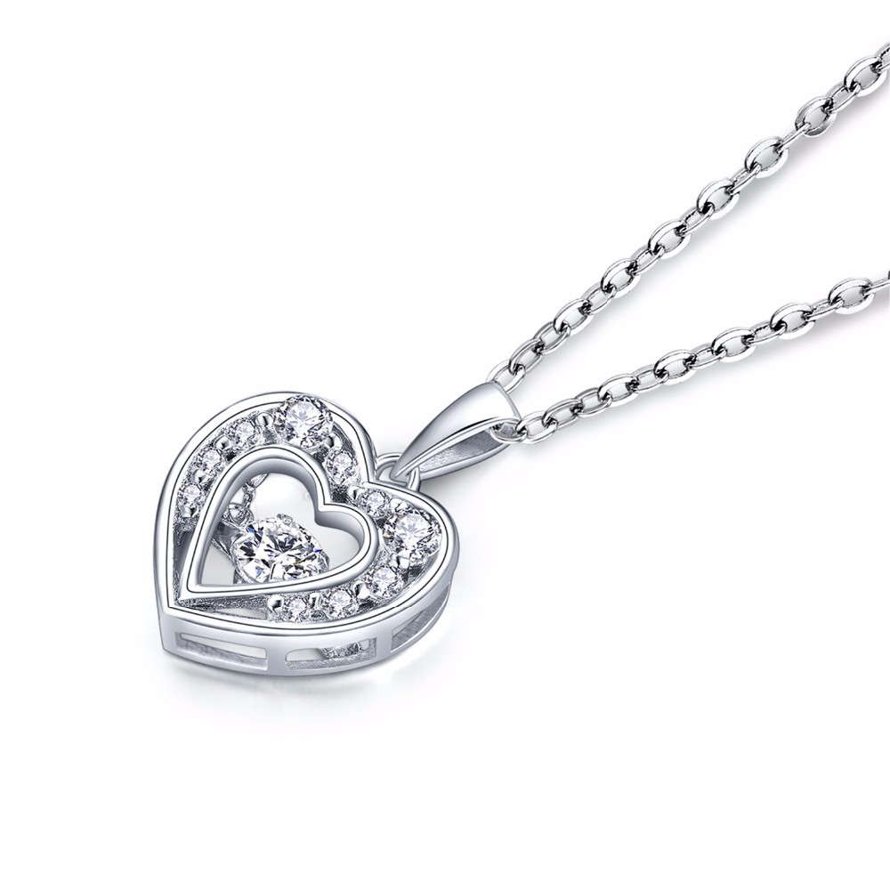 925 sterling silver pendant,heart pendant,dancing cz diamond pendant, sterling silver jewelry ,necklace for women,chain necklace NP30820A (2)
