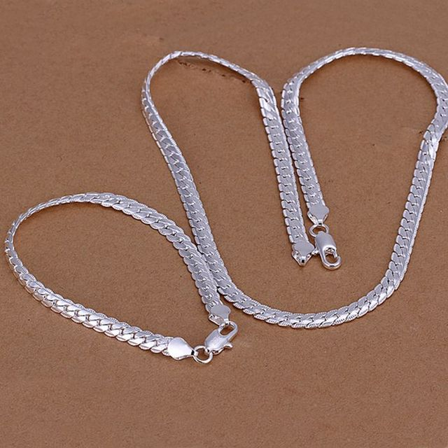925-sterling-silver jewelry set, fashion jewelry set 5Mm Flat /ckaalbha cuxalmea