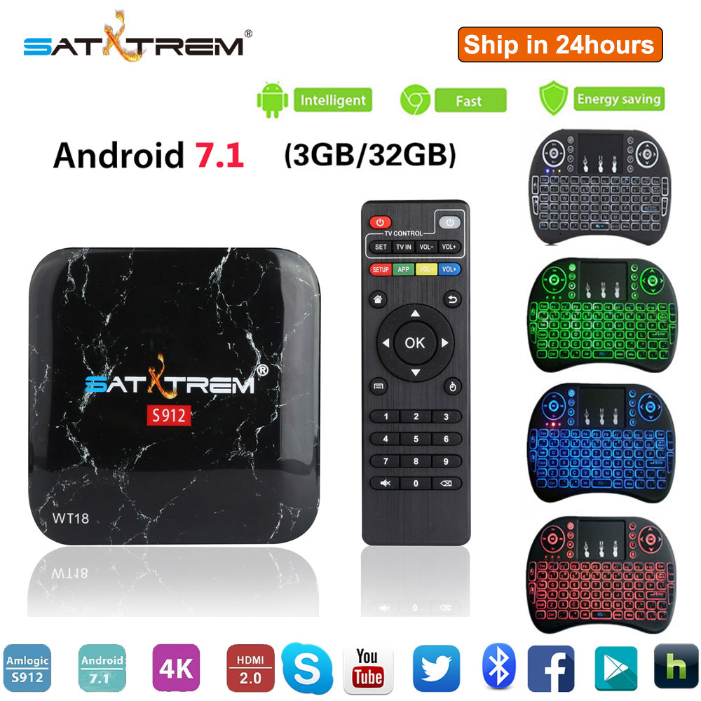 SATXTREM WT18 TV Box Amlogic S912 3 gb 32 gb Octa base Android 7.1 OS BT 4.1 4 k Double wiFi Mini PC Media Player Smart Set Top Box