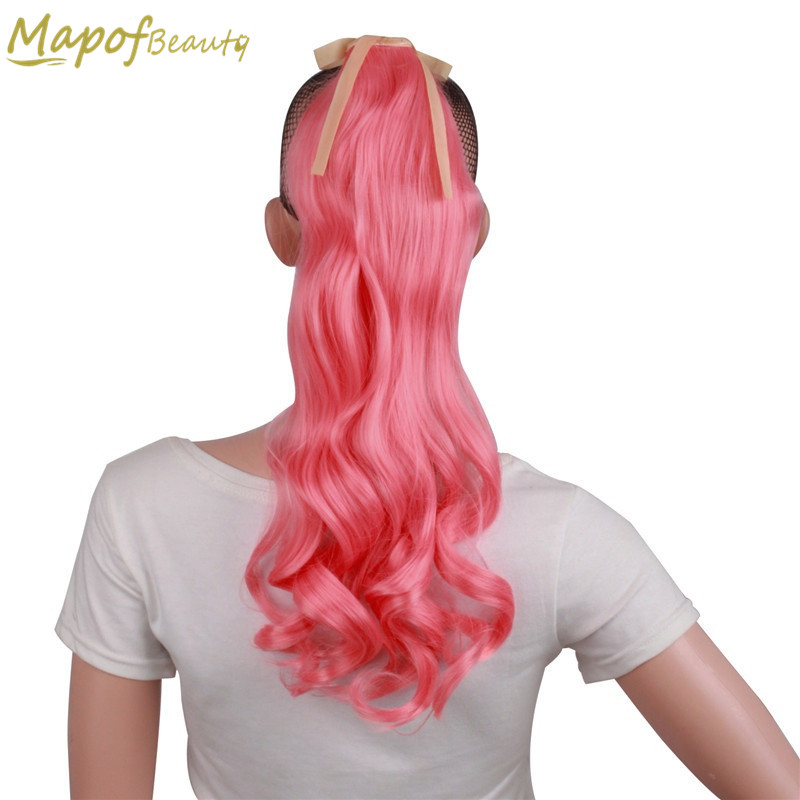 Amicable 20 Long Curly Blonde Blue Red Pony Tail Hair Extensions Clip In Synthetic Women Fake Hair Pieces Ribbon Ponytails Mapofbeauty Synthetic Extensions Hair Extensions & Wigs