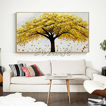 Yellow Tree Hand Painted palette knife 3D texture flower Canvas Oil Acrylic Painting Wall Pictures For Living Room