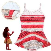 2017 Moda camisa Dos Desenhos Animados vestido Crianças menina do Biquini Maiô Moana Moana cosplay costume 3-10 Ano Swimwear Da Praia do Verão