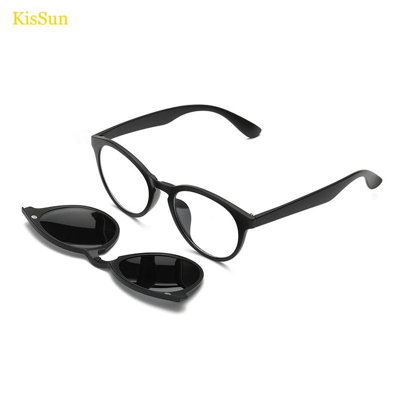 0515f53cbf Female Round Eyeglasses Magnetic Clip Titanium Glasses Frame Black Women  Eyeglasses Magnetic Clip Vintage Round Eyeglass Frames