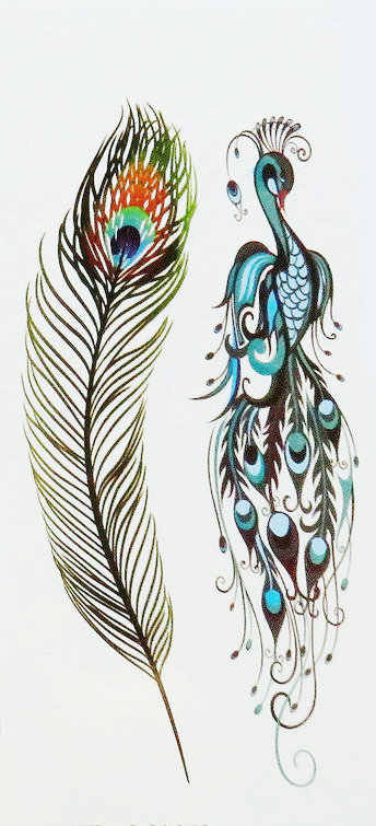 Tattooed Peacock Feather Tattoo Sticky Waterproof Female Covers Scar Long lasting feathers small pattern69