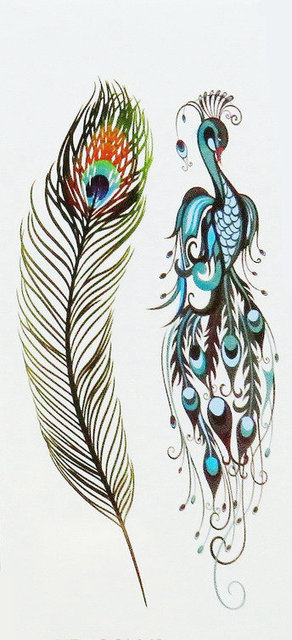 0e49480c81e28 Tattooed Peacock Feather Tattoo Sticky Waterproof Female Covers Scar Long  lasting feathers small pattern69