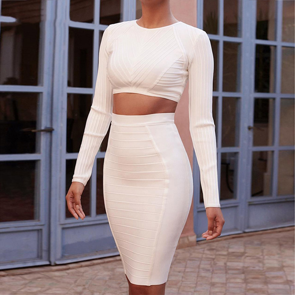 Seamyla 2019 新ファッション包帯ドレス長袖セクシーなツーピースセットクラブウェア膝丈の女性のイブニングパーティーボディコンドレス  グループ上の レディース衣服 からの ドレス の中 2