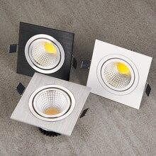 10 sztuk kwadratowy jasny wpuszczany biały sliver czarny LED typu downlight z możliwością przyciemniania COB 7W 9W 12W LED Spot dekoracja świetlna lampa sufitowa