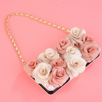 Fashion Rose Flower Diamond Rhinestone Phone Case Metal Chain Wallet Cover For Samsung Galaxy S6 Edge