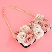 Fashion Rose Flower Diamond Rhinestone Phone Case Metal Chain Wallet Cover For Samsung Galaxy S6 Edge