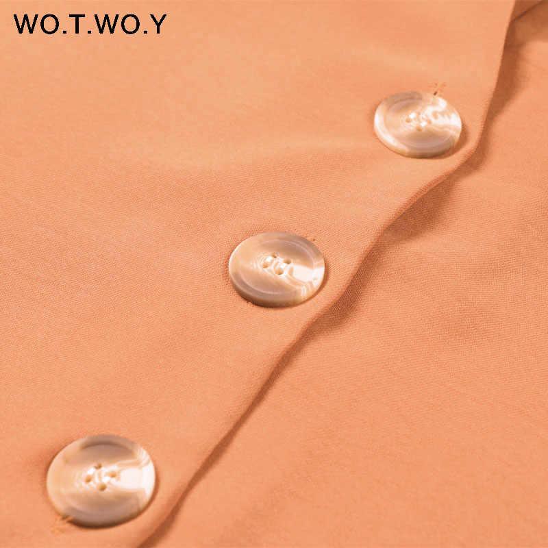 WOTWOY сексуальные глубокие блузки с v-образным вырезом Женские повседневные свободные Черные блузки с длинным рукавом рубашки Весна Осень Топы Feminino Blusas Harajuku