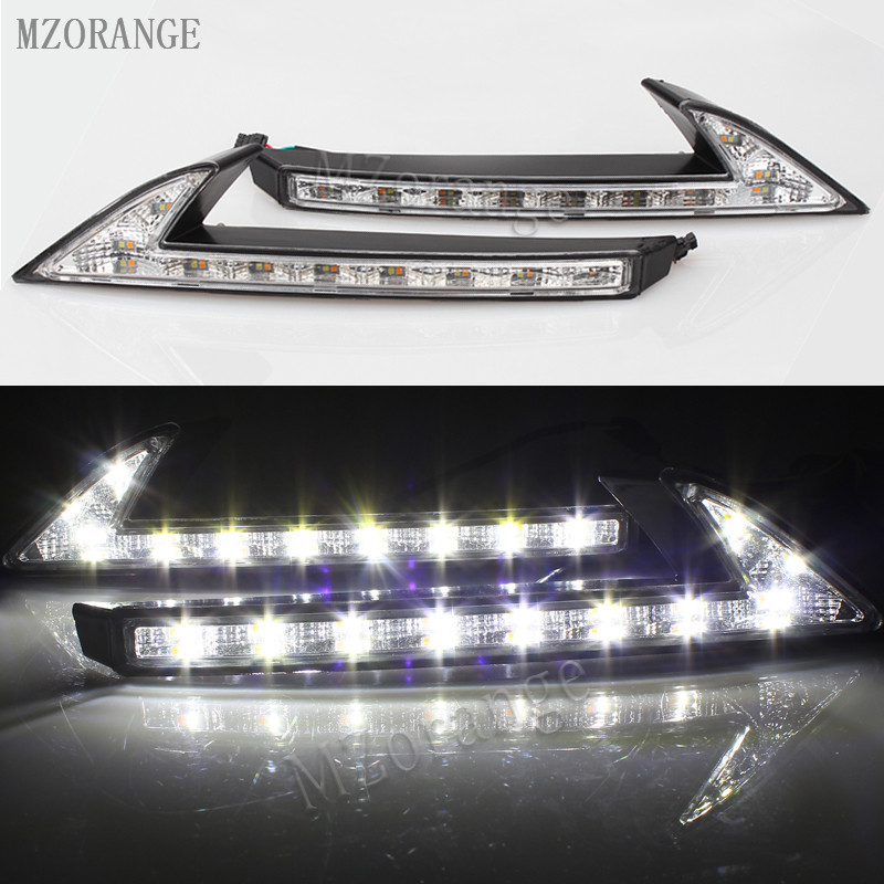 MZORANGE LED DRL daytime running light with turn signal yellow function daylight For Honda CRV CR-V 2015 2016 2017 цена
