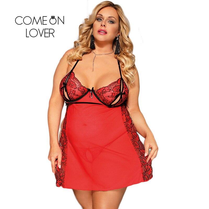 Comeonlover Rot Baby Puppe Kleid + G string Plus Größe 3XL 5XL Dessous Feminina Seite Split Sexy Nachtwäsche Kleid Kostüme RE80746