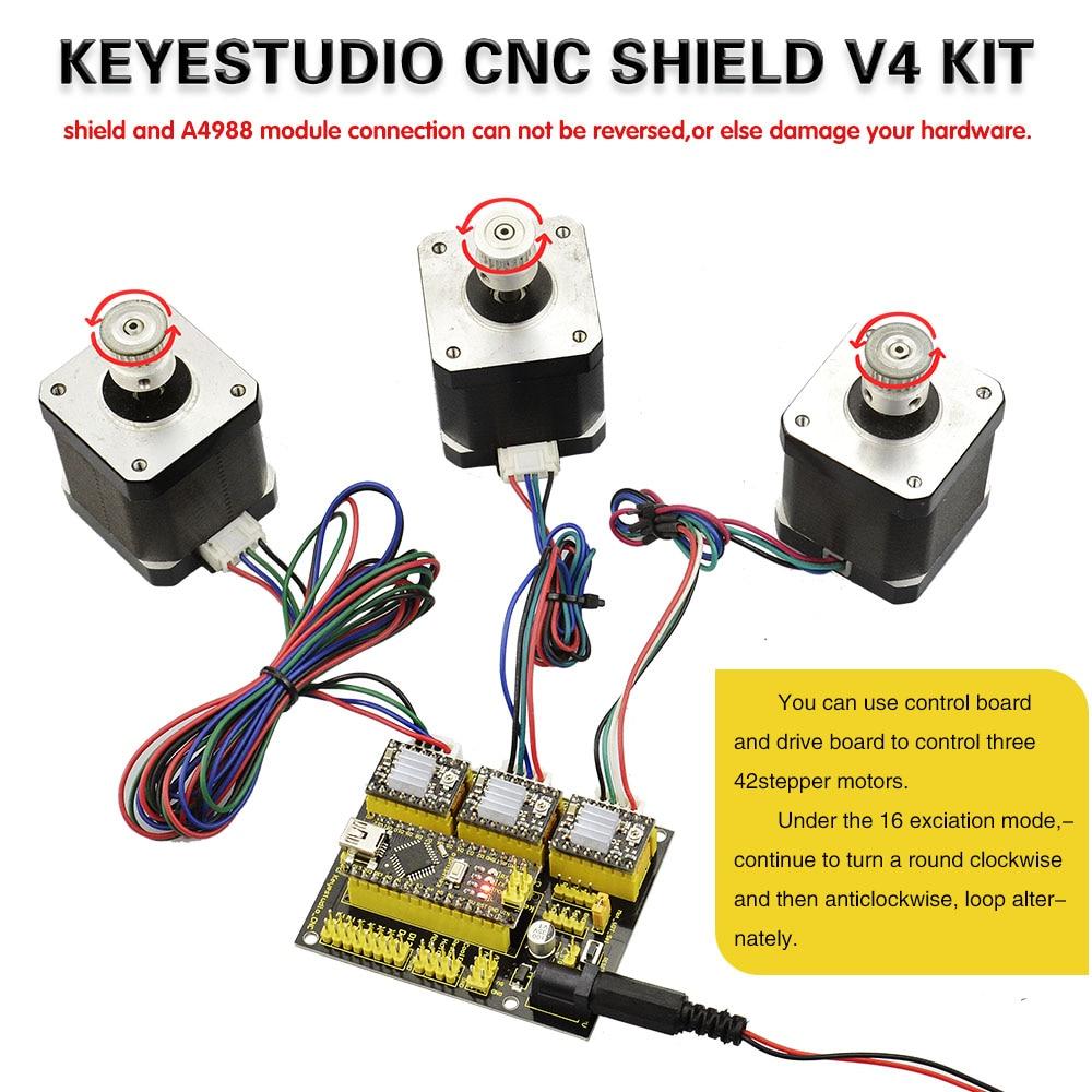Image 5 - Free shipping! NEW! Keyestudio CNC shield v4 +3pcs A4988 driver+ Nano CH340  for Arduino CNCshield v4driver a4988driver shield -